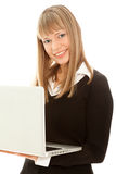 Woman with laptop looking to the camera Stock Photo