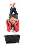 Woman Laptop and Music Stock Photo