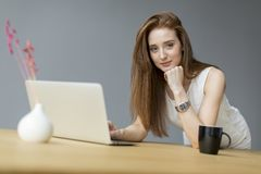 Woman with laptop in the office. Young woman with laptop in the office Royalty Free Stock Photos