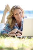 Woman on laptop outside Royalty Free Stock Images