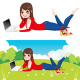 Woman Laptop Park Royalty Free Stock Photos