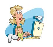 Woman with the laptop pc. Young woman having a on-line chat via web-cam. Vector illustration Stock Photography