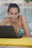 Woman with laptop in pool Royalty Free Stock Images