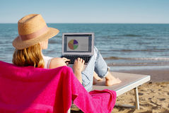 Woman with laptop on the seaside Stock Image
