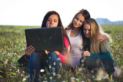 Woman with a laptop sitting in the field o Stock Image