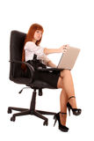 Woman  with laptop    on white Royalty Free Stock Image