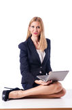 Woman with laptop on white Royalty Free Stock Photography