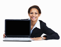 Woman with laptop on white background Royalty Free Stock Photos
