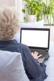 Woman laptop white monitor background Royalty Free Stock Photo