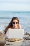 Woman with laptop working Royalty Free Stock Photo