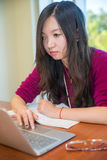Woman on laptop. Young woman studying on laptop in front of a large window Stock Photo