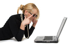 Woman with laptops. The beautiful blonde with laptops on white background Stock Photo
