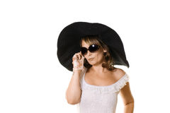 Woman in large black hat Royalty Free Stock Photo