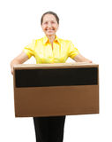 Woman with   large  box Stock Photography