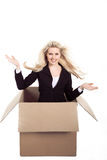 Woman with a large cardboard Stock Photo