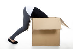 Woman with a large cardboard Stock Image
