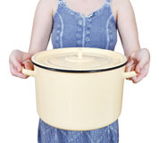 Woman with large closed saucepan isolated Stock Image