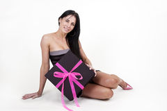 Woman with large gift box. Sexy woman with large gift box Stock Images