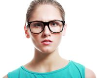 Woman in large glasses Royalty Free Stock Photos