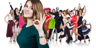 Woman and large group of happy people royalty free stock photo