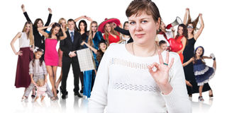Woman and large group of happy people Stock Photo