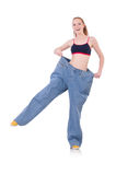 Woman with large jeans Stock Photos