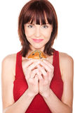 Woman With Large Muffin Stock Photography