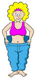 Woman in a large pants after diet. Vector illustration of a woman in a large pants after diet Royalty Free Stock Photo