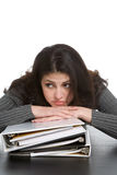 Woman with notebooks stock images
