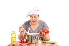Woman with a large pot Stock Image