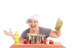 Woman with a large pot royalty free stock photography