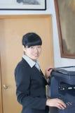 Woman and laser copier Stock Photos