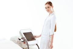 Woman laser hair removal apparatus isolated on white. skin care concept Royalty Free Stock Photos