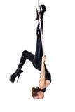 Woman in latex catsuit on aerial hoop Stock Image