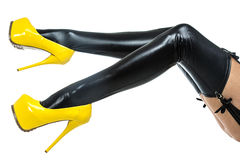 Woman in latex stockings and extreme high heels Royalty Free Stock Photos