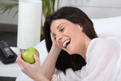 Woman laughing Stock Photography
