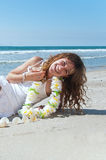 Woman laughing at the beach Royalty Free Stock Image