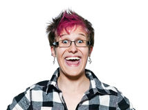Woman laughing with eyes wide open Stock Photos