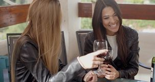 Woman laughing with friend over wine. Pair of female friends in leather jackets having fun talking and drinking wine together outside stock video