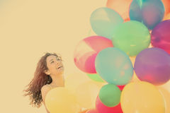 Woman laughing having fun in vacation holidays warm filter appli Royalty Free Stock Photography