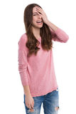 Woman laughing, head in hand Royalty Free Stock Photos