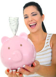 Woman Laughing Holding Money stock photography