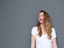 Woman laughing with joy Stock Photos