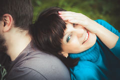 Woman laughing leaning on her man Royalty Free Stock Photography