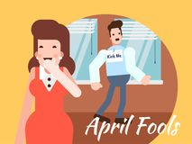 April Fools Day illustration. Woman laughing man with kick me sticker on back for april fools day Royalty Free Stock Images