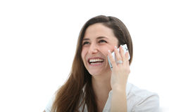 Woman Laughing Merrily On Her Mobile Stock Photo