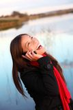 Woman Laughing on the phone Royalty Free Stock Photo