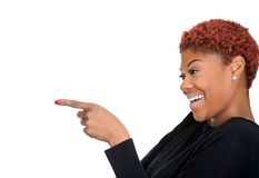 Woman laughing and poiting Stock Photo