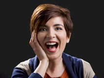 Woman laughing Stock Photos