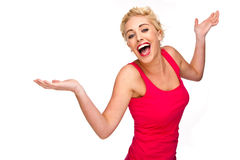 Woman Laughing, Smiling and Dancing Stock Photography